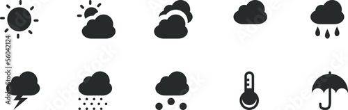 icônes météo Fotobehang