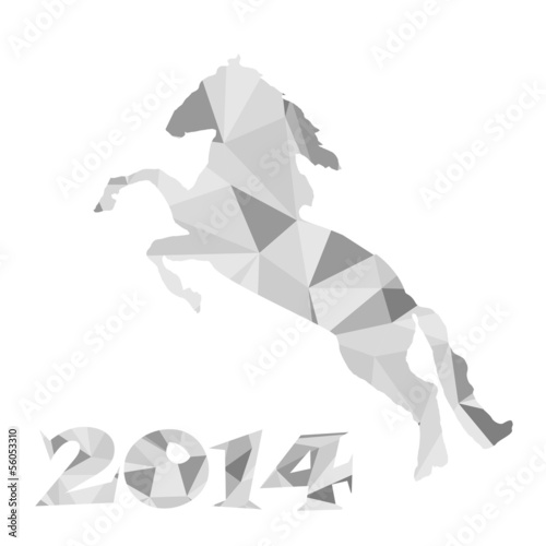 Poster Geometrische dieren 2014 - the year of horse