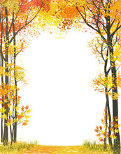 Frame Composition With Autumn Trees