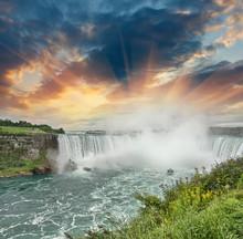 Niagara Falls. Beautiful Side View At Summer Time