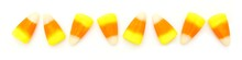 Halloween Candy Corn Border Over White Background