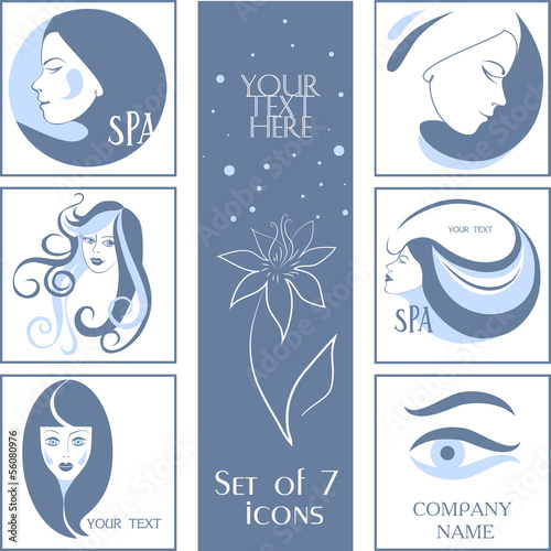 Set of 7 icons for your company, woman's profile - Buy this stock