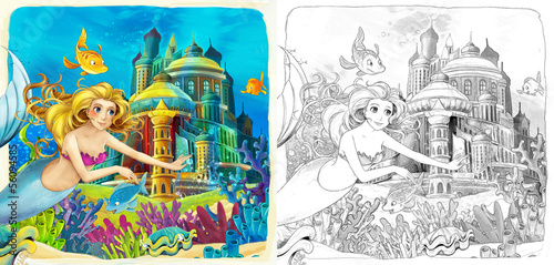 Fototapety, obrazy: The sketch coloring page - artistic style fairy tale