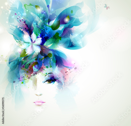 Poster Floral woman Beautiful fashion women face