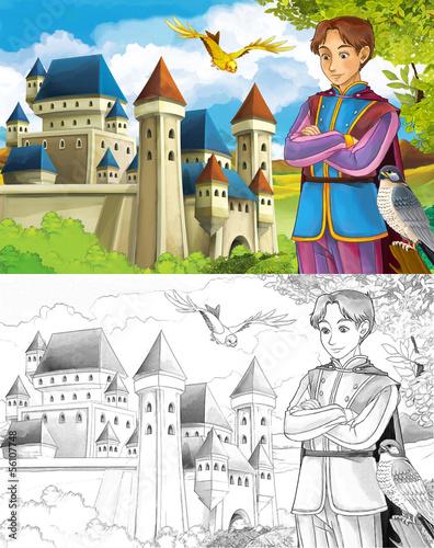 kolorowanka-szkic-z-podgladem-ksiaze-i-zamek
