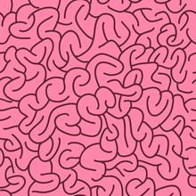 Abstract Seamless Brain Pattern. Vector