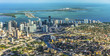 canvas print picture - aerial of town and beach of Miami
