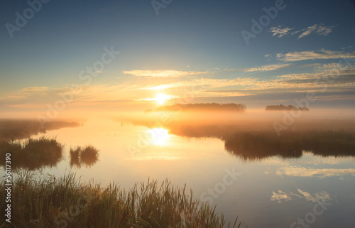 Papiers peints Morning Glory Golden sunrise at river
