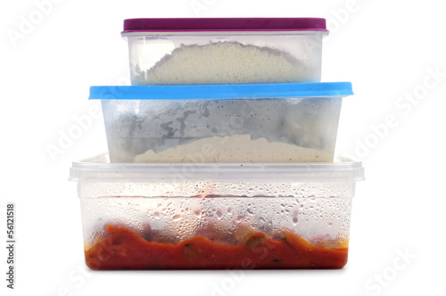 Fotomural plastic containers with food