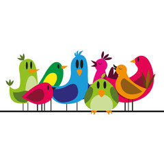 Vector Cute Cartoon Group Of Different Birds On A Cable