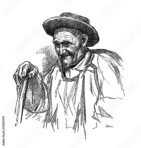 Fotografie, Obraz  Old Peasant - Vieux Paysan - Alter Bauer