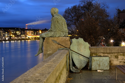 Sitting Helvetia statue on the river Rhine in Basel, Switzerland Fototapet