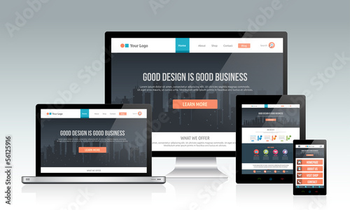 Responsive website template on multiple devices Fototapeta