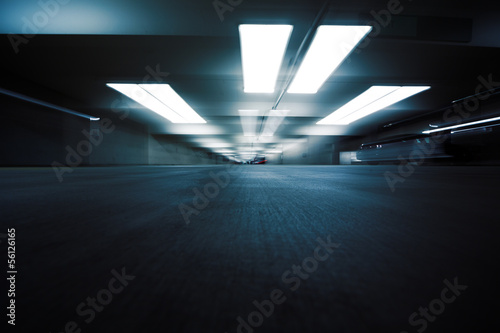 Dark parking garage industrial room interior. Zoom blur. Canvas Print