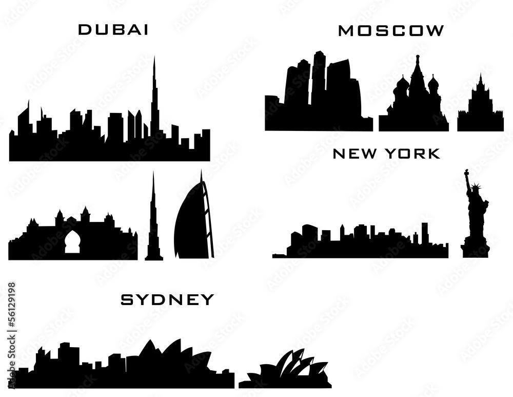 Fototapety, obrazy: 4 cities new york dubai moscow sydney