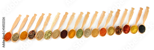 Keuken foto achterwand Kruiden 2 Assortment of spices in wooden spoons, isolated on white