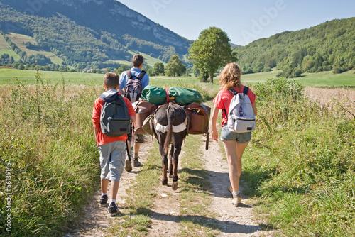 La pose en embrasure Ane Randonnée en famille avec un âne