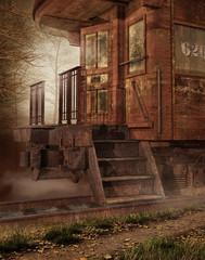 Fototapeta na wymiar Stary zardzewiały pociąg w lesie