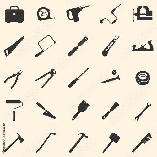 Fototapeta vector set of 25 tool icons obraz na płótnie