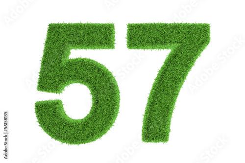 Fototapeta  Green eco-friendly symbol of number 57, on white