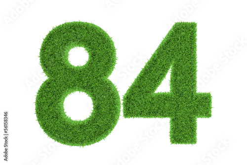 Fotografia  Number 84 with a green grass texture