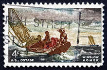 Postage Stamp USA 1962 Breezing Up, By Winslow Homer
