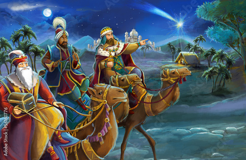 Fotomural Illustration of the holy family and three kings