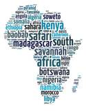 Words illustration of Africa continent map over white background