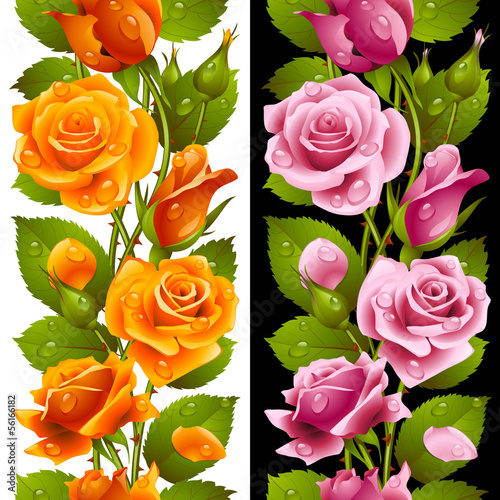 wektor-zolty-i-rozowy-roza-pionowy-wzor-bez-szwu