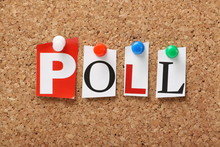 The Word Poll On A Cork Notice Board