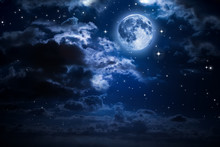 Moon And Clouds In The Night