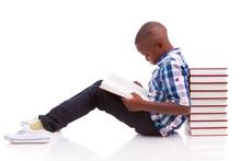 African American School Boy Reading A Book - Black People