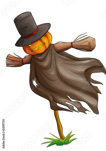 Fotografía Cartoon illustration of a scarecrow isolated on white