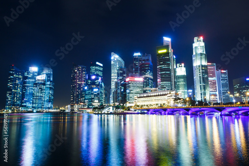 Singapore city at night Wallpaper Mural