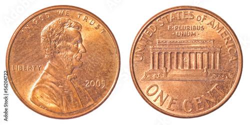 Fotografia  one american cent coin