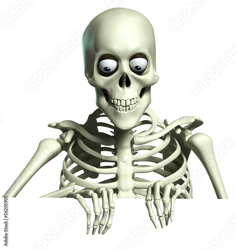 Foto auf Gartenposter Nette Monster 3d cartoon skeleton