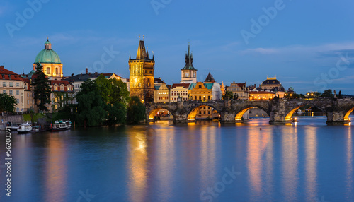 Poster Praag Prague, Czech cityscape at night