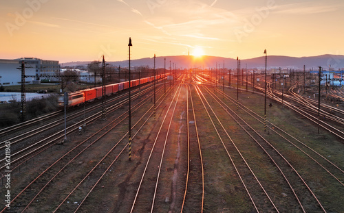 Poster Voies ferrées Railway at sunet