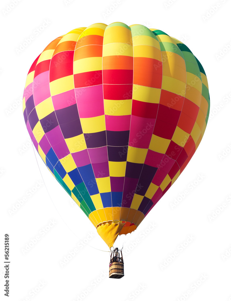 Fényképezés  Colorful Hot Air Balloon Isolated on White Background