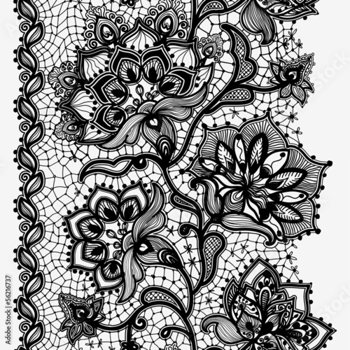 Stampa su Tela Abstract lace ribbon seamless pattern with elements flowers