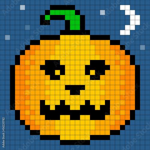 Autocollant pour porte Pixel 8-bit Pixel Art Halloween Pumpkin