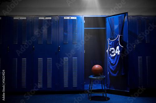 Obraz na plátne Basketball Locker Room with spotlight on the ball and locker