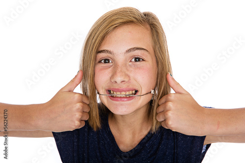 Photo Happy young girl with headgear