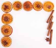 Dried Orange Sliced And Cinnamon