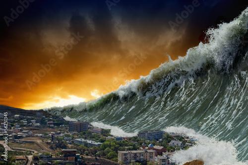 Türaufkleber Abstrakte Welle Tsunami waves