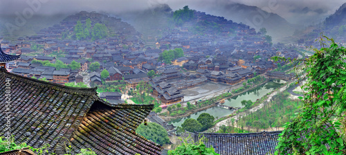In de dag China Fog and clouds in big mountain village in southwest China.