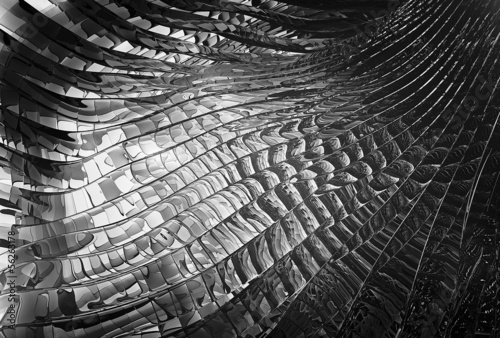 3D rendered BW abstract glass background