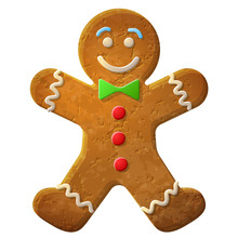 Gingerbread Man Decorated Colored Icing