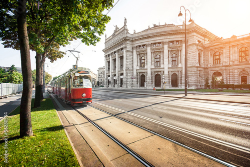 Fototapeta Famous Ringstrasse with Burgtheater and tram in Vienna, Austria obraz