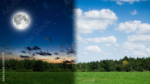 Fotobehang Nacht day and night background